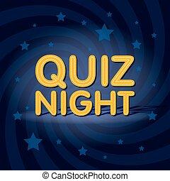 Quiz Night neon light sign in retro twist background with...
