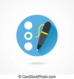 quiz, penna, vettore, icona