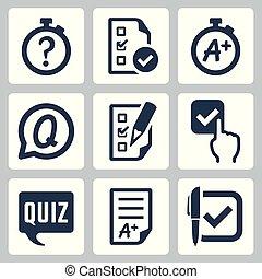 Quiz related vector icon set