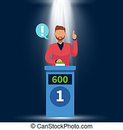 Quiz show. Standing man raise up hand, answer question and pushing button on tv game with podium and light vector concept
