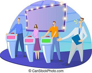 Quiz show TV-studio with host and contestants. Screen,...