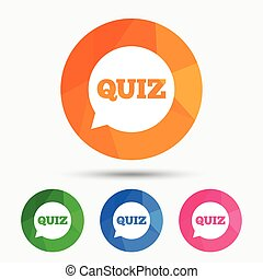 Quiz sign icon. Questions and answers game. - Quiz speech...