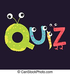 quiz text fun kids character alphabet with eye