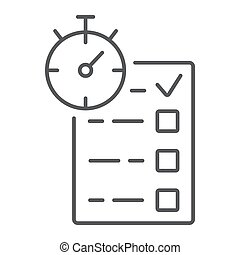 Quiz thin line icon, e learning and education, survey sign vector graphics, a linear pattern on a white background, eps 10.