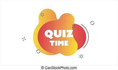 Quiz time for web design. Quiz symbol. Poster, banner. Animated banner