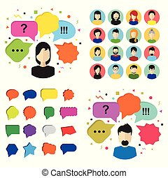 Quiz vector icons, poll signs and flat bubble speech symbols