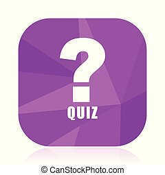 Quiz violet square vector web icon. Internet design and webdesign button in eps 10. Mobile application sign on white background.