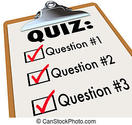 Quiz clipboard of quesions and answers marked in checklist boxes to illustrate a test, evaluation or assessment of your knowledge, abilities or skills
