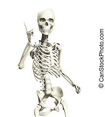 A skeleton that is posed in a very quizzical pose.