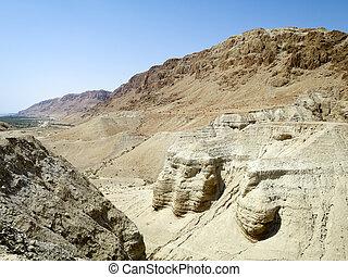 Qumran Caves - The Qumran Caves where the Dead Sea Scrolls...