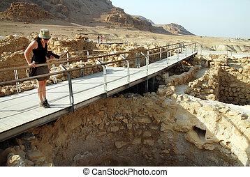 Qumran National Park Israel - A visitor at Qumran National...