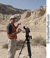 Qumran Taping - TV filming of Qumran in Israel where the...