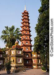 quoc, pagoda, tran, hanoi
