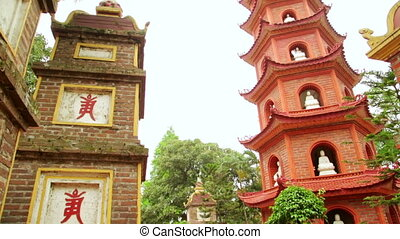 quoc, tran, pagode, hanoï, vietnam, panoramique, temple