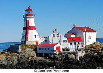 quoddy, nowy, latarnia morska, wschód, brunswic