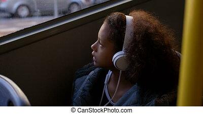 quoique, 4k, musique, voyager, écoute, girl, autobus