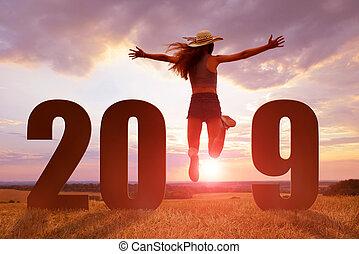 quoique, année, nouveau, girl, 2019., célébration