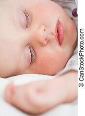 quoique, bébé, mignon, mensonge, dormir, lit