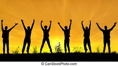quoique, célébrer, hommes, silhouettes, jeune, distancing, liberté, social