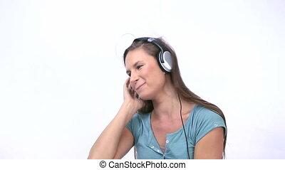quoique, femme, musique écouter, danse