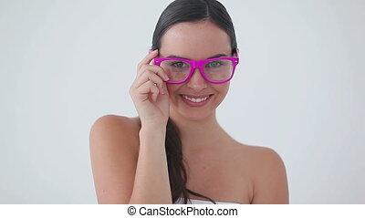 quoique, lunettes, sourire, rire, femme, porter, rose
