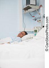 quoique, mensonge, dormir, patient, lit, monde médical