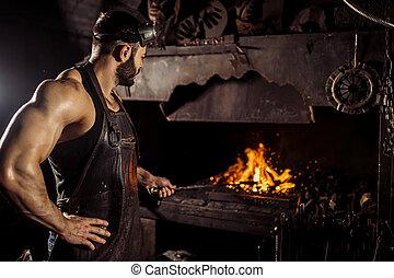 quoique, morceau, jeune, acier, caucasien, blacksmit, chaud, température, chauffage, fournaise