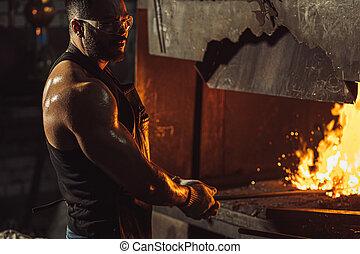 quoique, morceau, jeune, acier, caucasien, forgeron, chaud, température, chauffage, fournaise