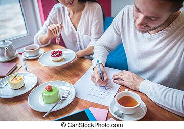 quoique, réviser, confection, desserts, notes, menu, homme affaires, leur