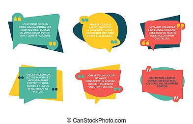 Quotation box. Quote color shapes, speech bubbles with place for text. Frame for comments, round and square forms with copy space. Vector red, yellow and green boxes for lettering set