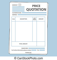 Quotation Form - Illustration of blank sale price quotation...