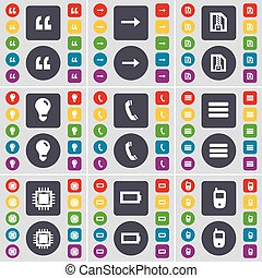 Quotation mark, Arrow right, ZIP file, Light bulb, Receiver, Apps, Processor, Battery, Mobile phone icon symbol. A large set of flat, colored buttons for your design. Vector