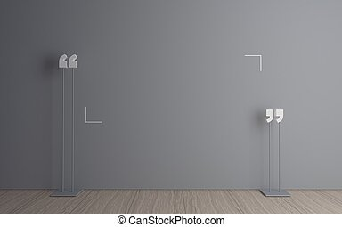 Quotation mark in the room - 3D illustration. Massive ...