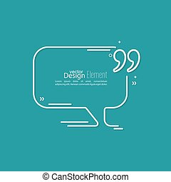 Quotation Mark Speech Bubble and Chat symbol. Outline.