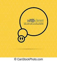 Quotation Mark Speech Bubble - Vector yellow abstract...