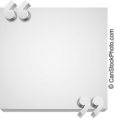 Quotation white 3D plate with copy space vector template.