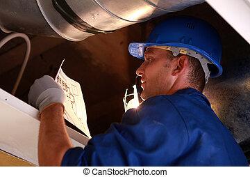 quotazione, fornace, lavoratore