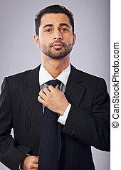 quotazione, suo, corporativo, cravatta, uomo