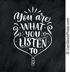 Quote about music. Hand drawn vintage illustration with hand drawn lettering. Phrase for print on t-shirts and bags, stationary or as a poster. Vector