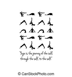 Quote about yoga and silhouette of people in different poses.