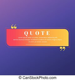 Quote blank frame vector template. Red, orange and yellow gradient speech bubble. Quotation, citation text box design. Rectangle with rounded and sharp edges empty textbox background for message, note