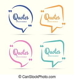 Quote box frame. Quotation bubble or quotes symbols for blog. Texting quote boxes. Blank template for print quote text info design. Vector illustration