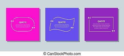 Quote box frame. Template text quotations. Vector color illustration.