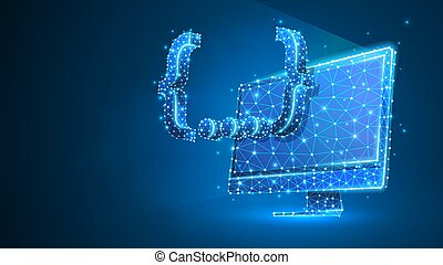 Quote Curly Bracket symbol on computer monitor. People social network communication concept. Abstract, digital, wireframe, low poly mesh, vector blue neon 3d illustration. Triangle, line, dot