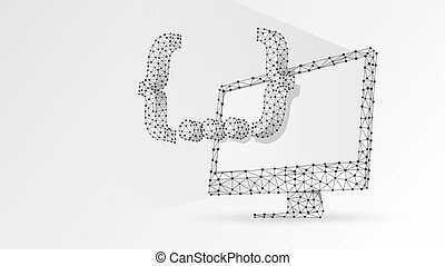Quote Curly Bracket symbol on computer monitor. People social network communication concept. Abstract, digital, wireframe, low poly mesh, vector white origami 3d illustration. Triangle, line, dot