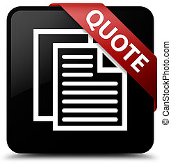 Quote (document pages icon) black square button red ribbon in corner