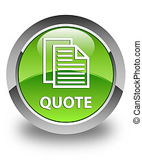 Quote (document pages icon) glossy green round button