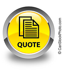 Quote (document pages icon) glossy yellow round button