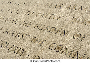 Arlington Cemetary - Quote engraved in stone in Arlington...