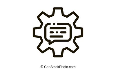 Quote Frame In Gear Center Icon Animation. black Gear Mechanical Process For Communication And Discussion animated icon on white background